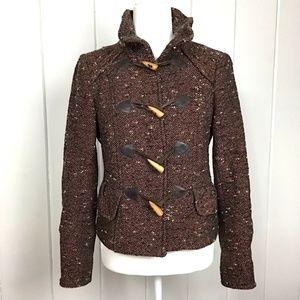 Zara Black Orange Wool Tweed Toggle Jacket - S